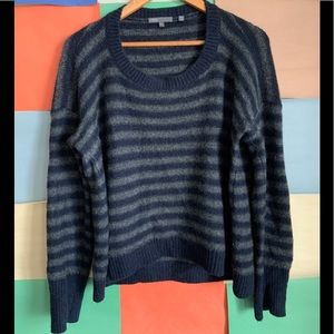 Vince Merino Wool Grey and Navy Blue Sweater sz L